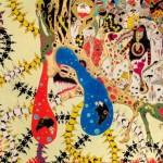 2014/綿布に色糊筒描き,シリアス染料/112cm×145.5cm(H×W)  2014/ Cotton Art cross, paste ,sirius dyes, Cotton On panel/112cm×145.5cm(H×W)