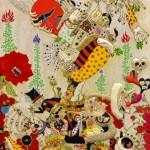 2014/綿布に色糊筒描き,シリアス染料/162cm×112cm(H×W)  2014/ Cotton Art cross, paste ,sirius dyes, Cotton On panel/162cm×112cm(H×W)