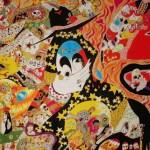2013/綿布に色糊筒描き,シリアス染料/112cm×162cm(H×W)  2013/ Cotton Art cross, paste ,sirius dyes, Cotton On panel/112cm×162cm(H×W)