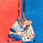 2016/綿布に色糊筒描き,シリアス染料,綿入り/53cm×41cm(H×W)  2016/ Cotton Art cross, paste ,sirius dyes, Cotton On panel/53cm×41cm(H×W)