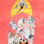 2016/綿布に色糊筒描き,シリアス染料/65.2cm×53cm(H×W)  2016/ Cotton Art cross, paste ,sirius dyes, Cotton On panel/65.2cm×53cm(H×W)