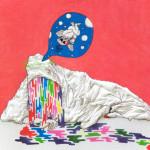 2016/綿布に色糊筒描き,シリアス染料,綿入り/50cm×60.6cm(H×W)  2016/ Cotton Art cross, paste ,sirius dyes, Cotton On panel/50cm×60cm(H×W)