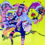 2017/綿布に色糊筒描き,シリアス染料,綿入り/72.7cm×100cm(H×W)  2017/ Cotton Art cross, paste ,sirius dyes, Cotton On panel/72.7cm×100cm(H×W)