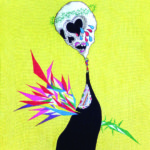 2017/綿布に色糊筒描き,シリアス染料,綿入り/60.6cm×45.5(H×W)  2017/ Cotton Art cross, paste ,sirius dyes, Cotton On panel/60.6cm×45.5cm(H×W)